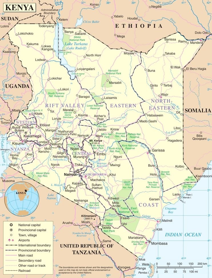 Kenya Political Map Kenya Map Kenya Travel
