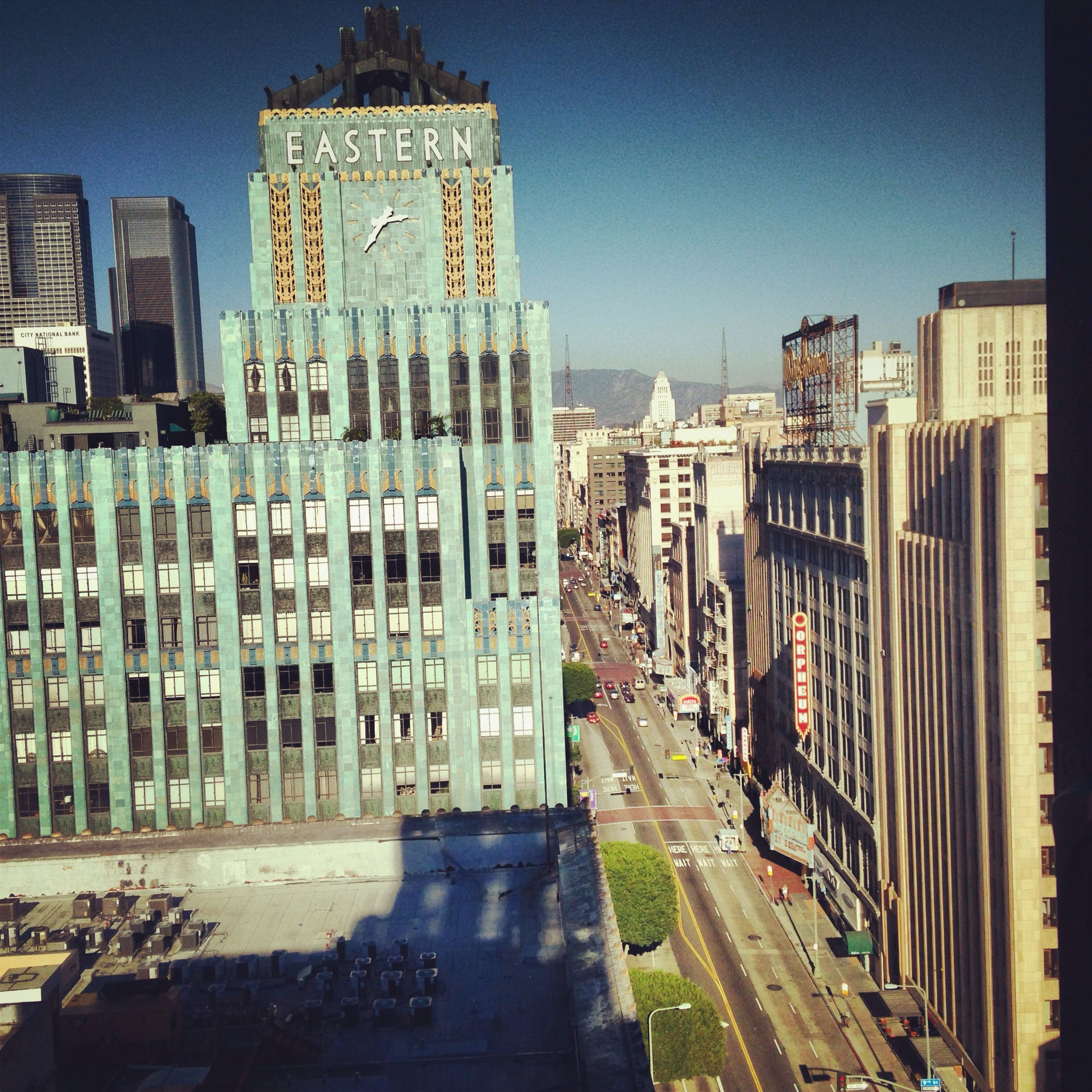 A view from the rooftop of the ace hotel downtown los