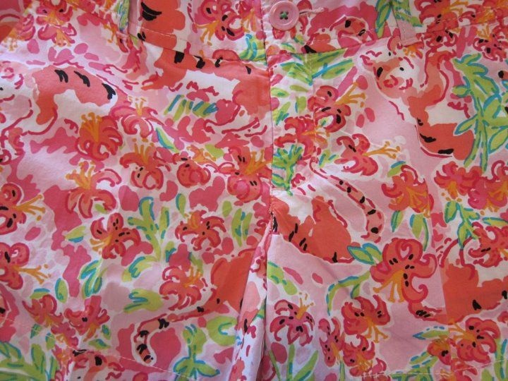 I love the color in this print. Find the tiger and the tiger lilies.