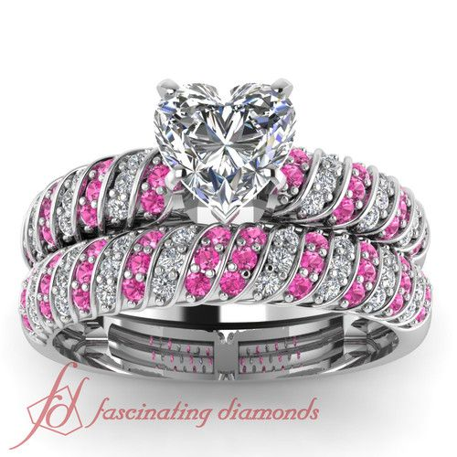 Heart Shaped and Round Diamonds & Pink Sapphire 14K White Gold Wedding Ring Set in Pave Setting || Rope Design Set