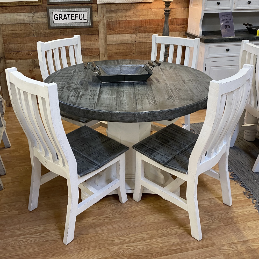 16++ Rustic white dining table set Top