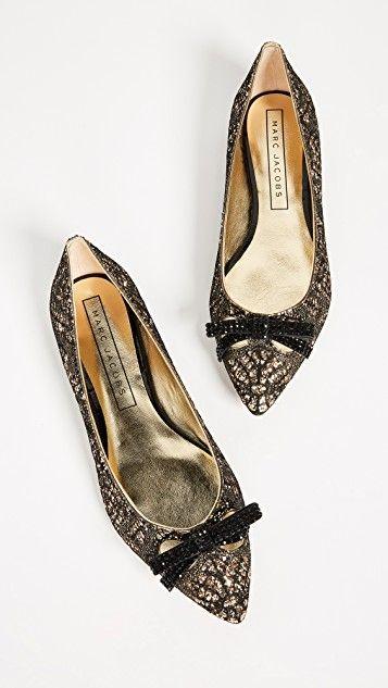 e1b41c8faf00 Marc Jacobs Jaime Embellished Pointy Toe Flats Gold