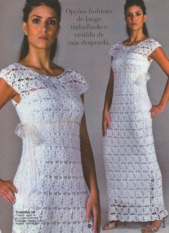 Vestido Longo Em Squares De Crochê Receita Do Meio Motivo B