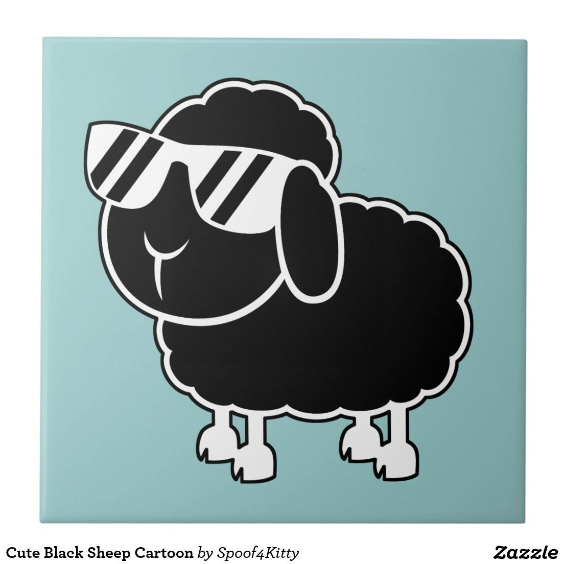 Cute Black Sheep Cartoon Ceramic Tile | Top sellers on Zazzle ... for Animated Black Sheep  55nar