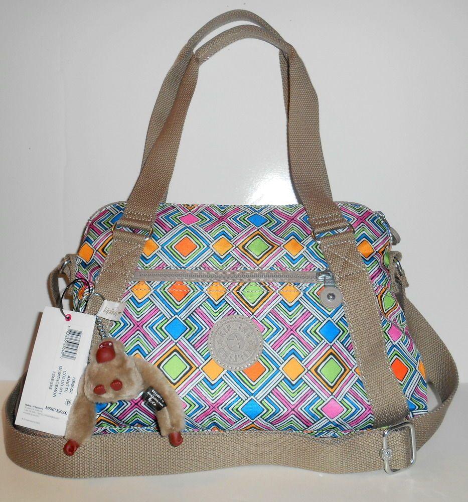 KIPLING Anette Satchel Handbag Crossbody Geometric Ember Nylon HB6502 NEW NWT  #Kipling #SatchelCrossbody