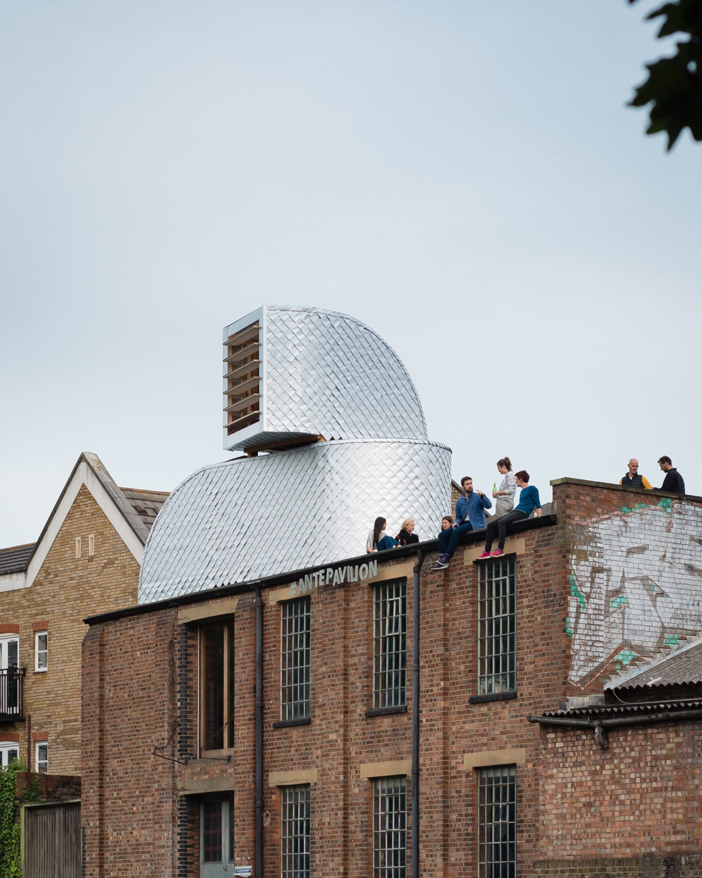 Pup Architects Has Installed A Subversive Duct Shaped Pavilion On The Roof Of A Canal Side Warehouse In East Lon Architecture Pavilion Architecture Architect