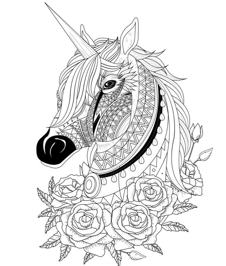 Голова единорога с розами - Единороги | Раскраски, Рисунки ...