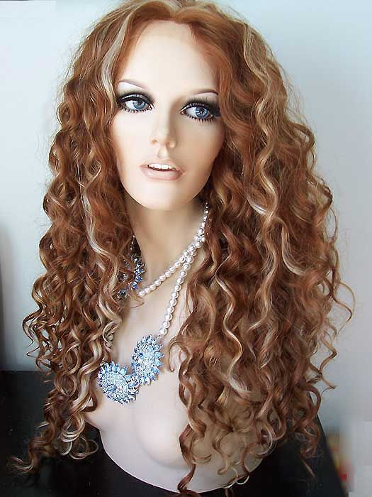 Stunning Curly Lace Front Wig Inspired Rupaul Drag Queen Wig, Medium Auburn, Strawberry Blonde, Pale Blonde
