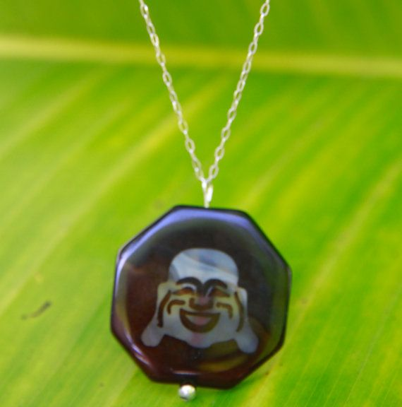 Laughing Buddha sterling silver necklace by seadragongems on Etsy, $22.00