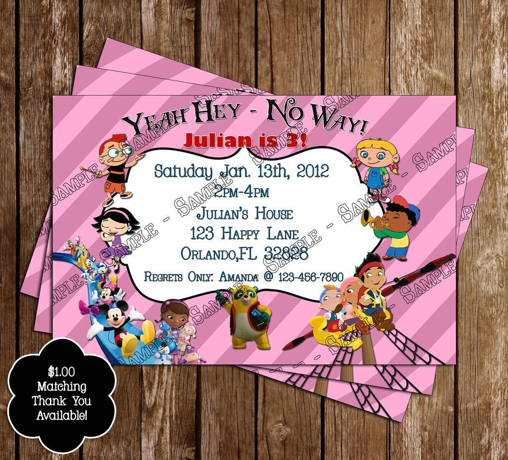 Disney Junior Birthday Invitation Not So Keen On The Wording But