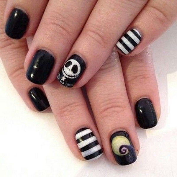 Nightmare Halloween Nail with a small Skull Design. Halloween Nail ...