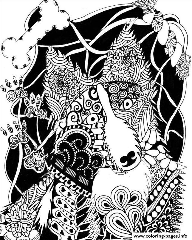 Print wolf mandala coloring pages | Dessin chien, Mandala ...