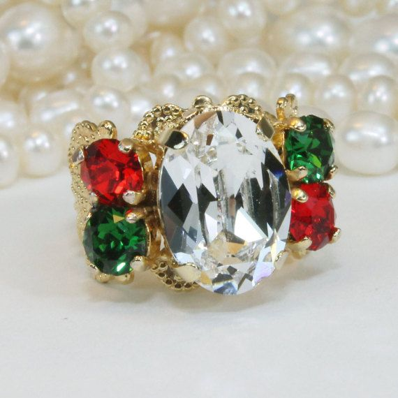 Christmas Ring Red Green White Ring Christmas adjustable Swarovski Crystal Red Green White Holidays Ring Christmas Cocktail Ring,Gold,GR22