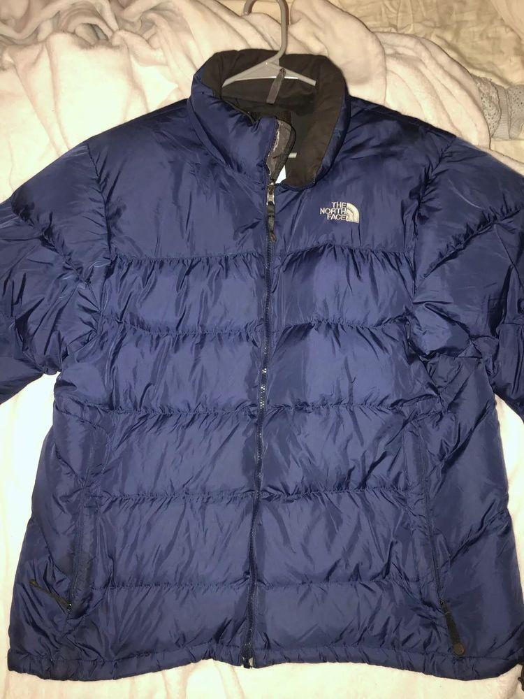 9c21fa8e51 Used The North Face Down Nuptse Jacket 550 Fill Puffer Blue Mens XL   fashion