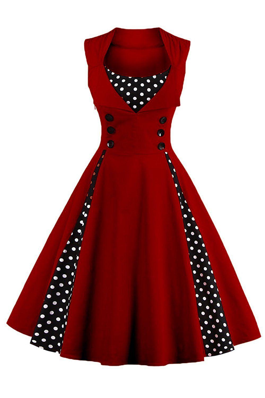 Babyonline® Damen Ärmellos Knielang Vintage 1950er Jahre Rockabilly ...