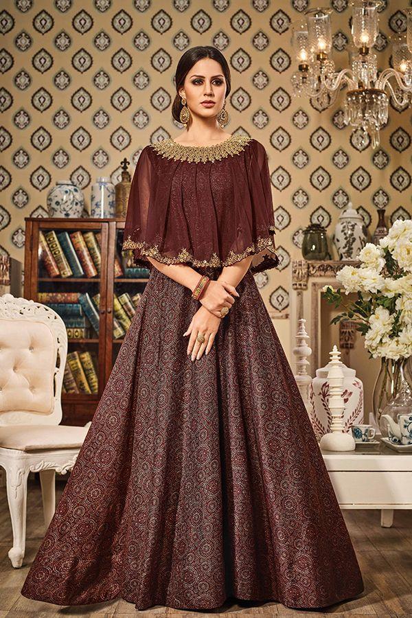 d80f2c5ec06d Brown Color German Silk Fabric Cape Style Gown