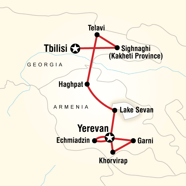 Map Of Kakheti Georgia.Map Of The Route For Best Of Georgia Armenia The Travel Guide In