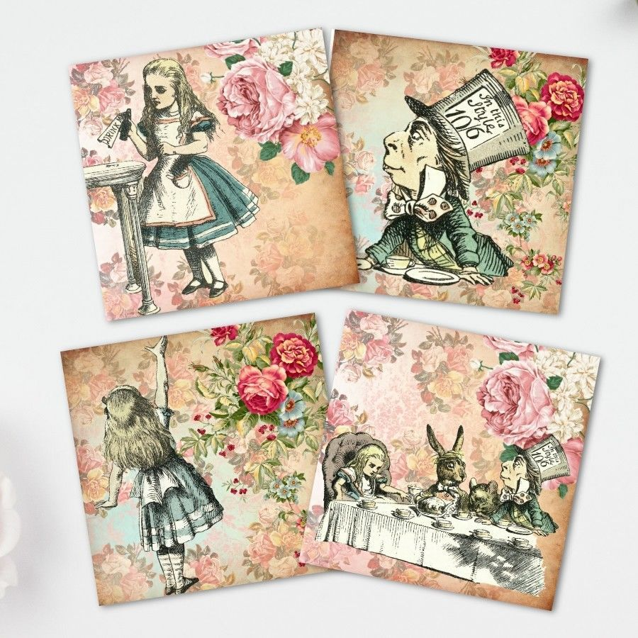 Scrapbooking Alice in Wonderland Card Toppers 4x4 Squares Cardmaking,Tags