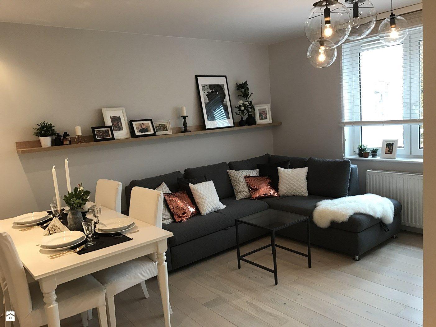 Metamorfoza mieszkania 47 m2 - Bamberski Dwór - Średni szary salon z jadalnią, styl nowoczesny - zdjęcie od Architektownia