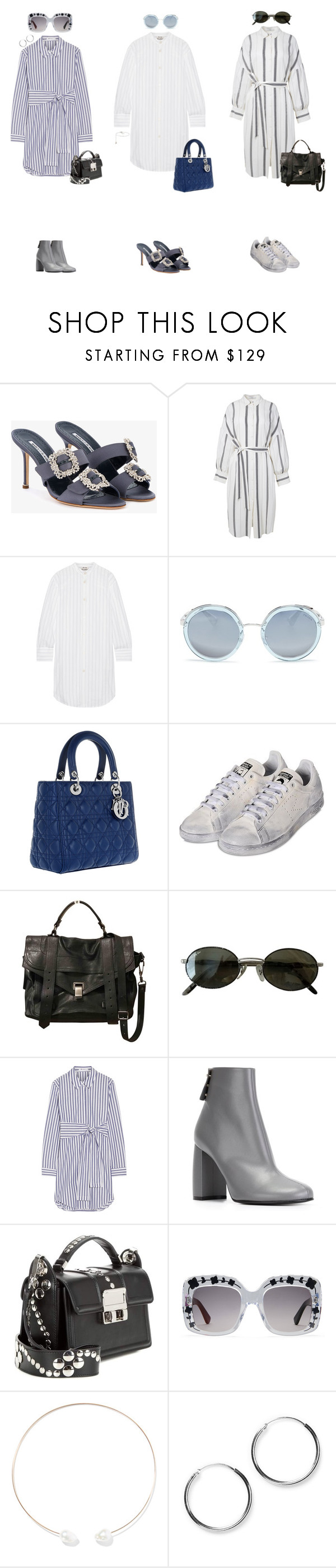 """shirtdress"" by julie-elisabeth-thrane ❤ liked on Polyvore featuring Manolo Blahnik, TIBI, Acne Studios, Prada, Christian Dior, adidas, Proenza Schouler, Ray-Ban, T By Alexander Wang and STELLA McCARTNEY"
