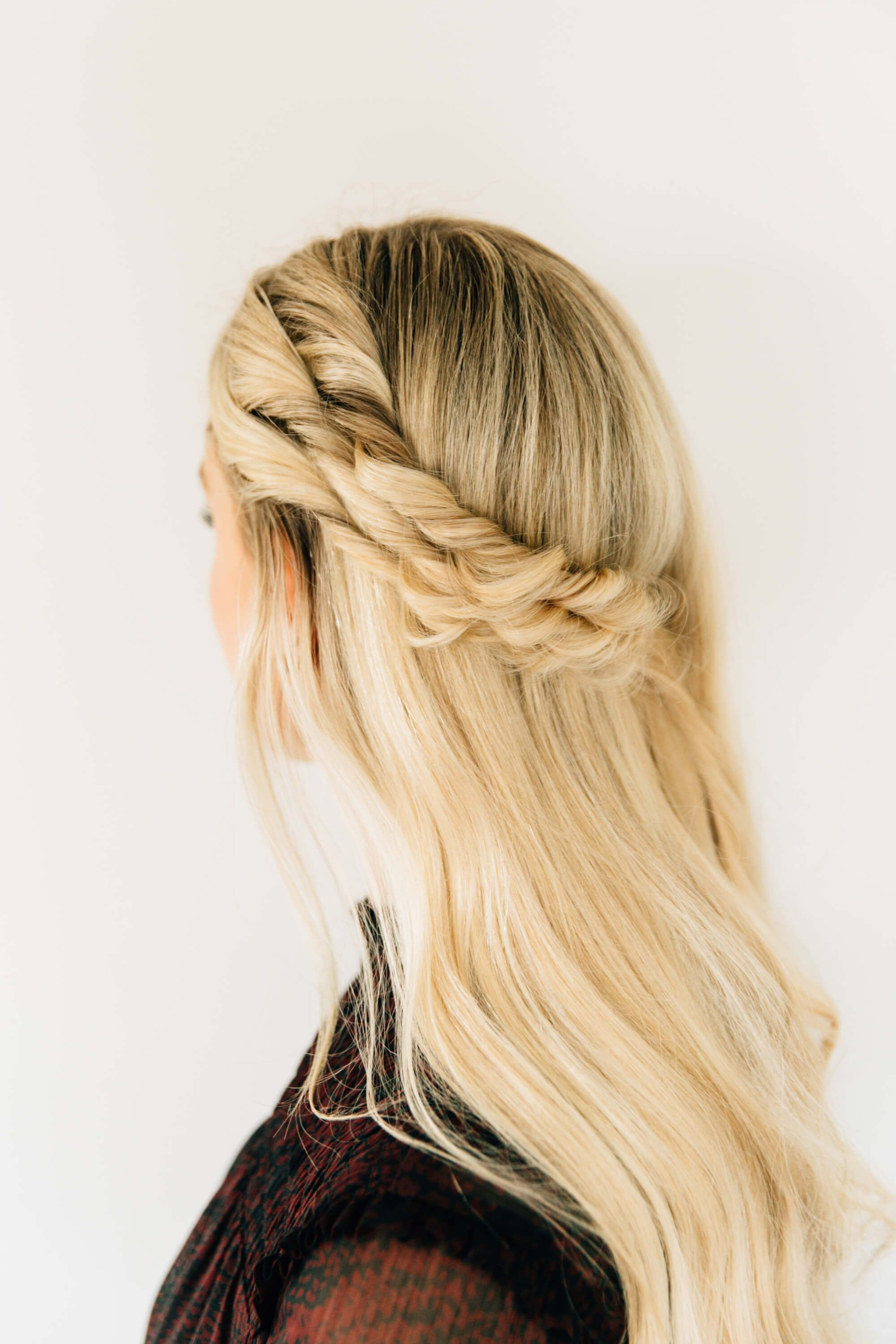 Half up half down hairstyle with a double twist easy