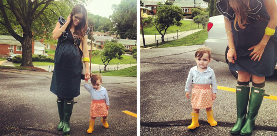 mom & daughter rain boots