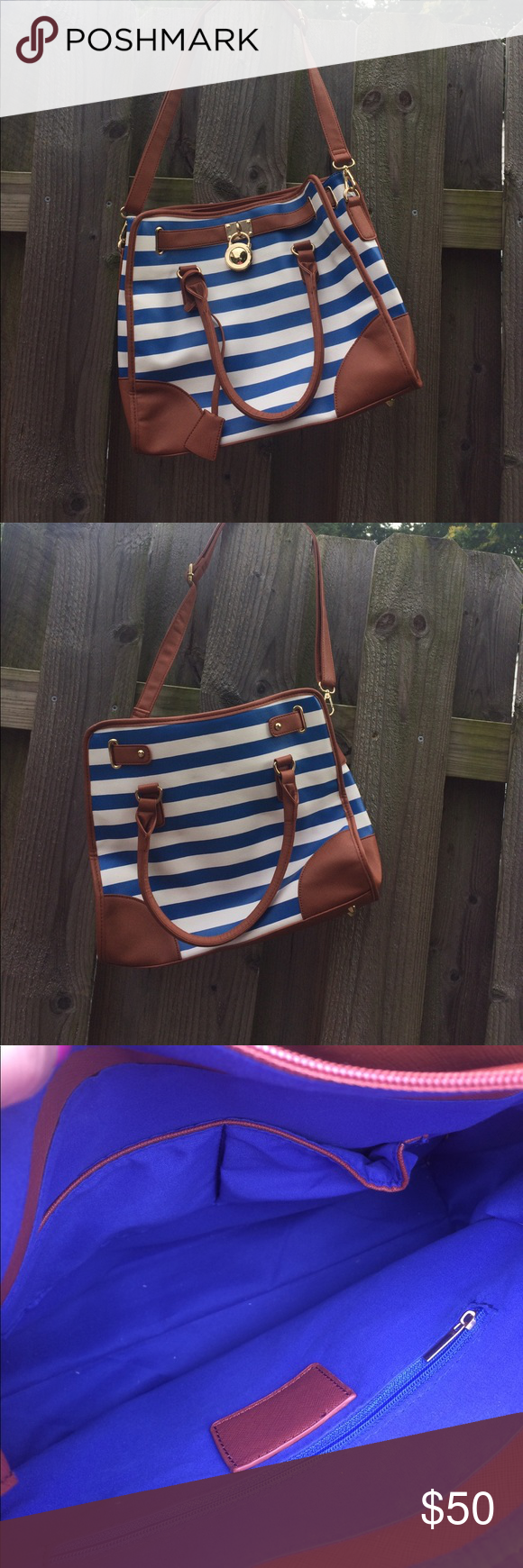 Striped white and blue purse Striped puse Bags Shoulder Bags