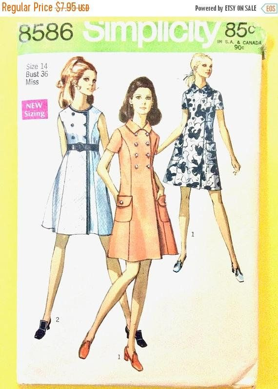 On Sale Simplicity 8586 60s A Line Dress Piping Step In Coat