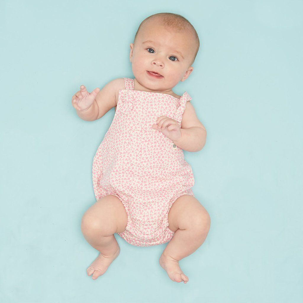 Baby pink dungaree dress  JAZZY Dungeree Baby Toddler Romper  Pink Lightweight terry cute