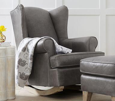 Wingback Leather Rocker 38 Ottoman Rocking Chair Nursery