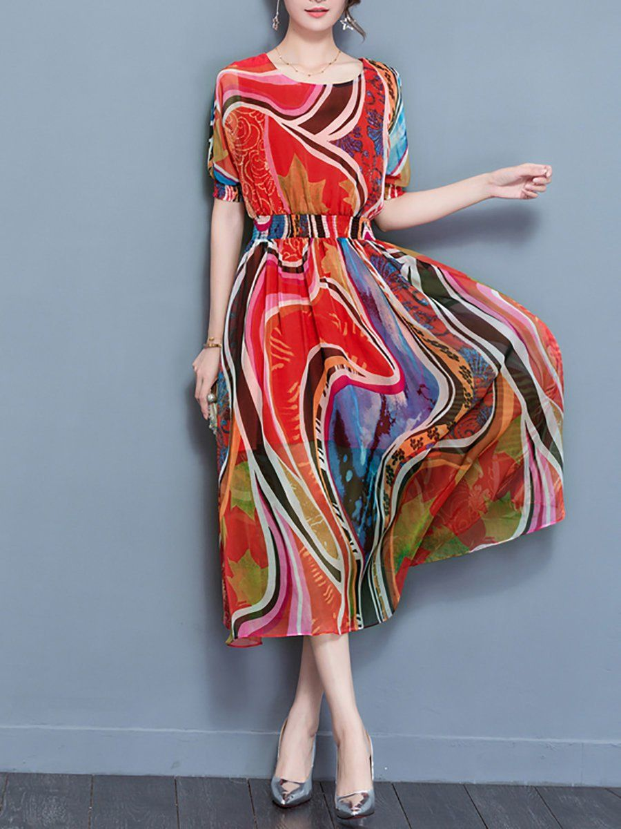 290e155ded6 Stylewe Multicolor Crew Neck Blouson Beach Dress Balloon Sleeve Boho  Gathered Abstract Dress