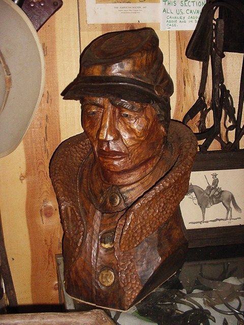 This is a large Buffalo Solider bust made by CARP.  When the late Ben Johnson Cowboy Actor was in our Museum he wanted to buy it.  We were honored by a visit by him on 3 different times.