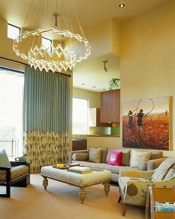 Wohnzimmer Design Mit Einem Luxus Kronleuchter   Wie Ein Modernes Wohnzimmer  Aussieht U2013 135 Innovative Designer