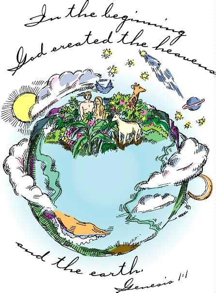 in-the-beginning-god-created-god-created-the-world-clipart ...