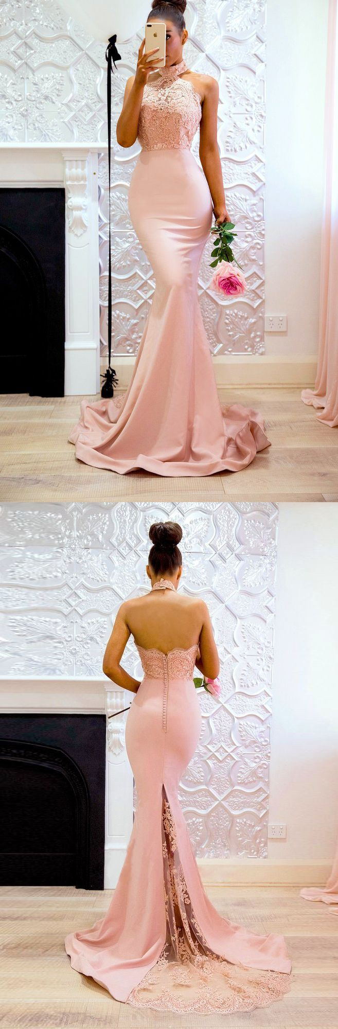 Sexy dusty rose halter lace appliques mermaid long prom gown peach