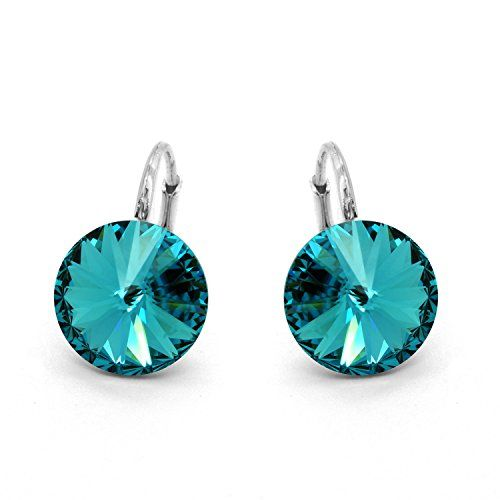 Made with Swarovski Crystals Sterling Silver 925 Round Leverback Earrings for Women Aqua Blue Colour 2Xt6OT2Np