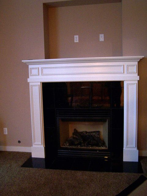 Before After Mantel Covering The Tv Niche Above The Fireplace