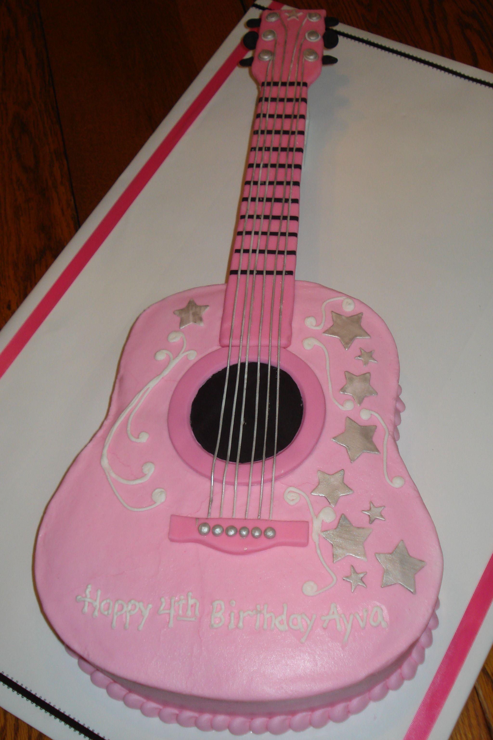 Guitar Cake Design Ayva S Pink Guitar Cake Cake Decorating