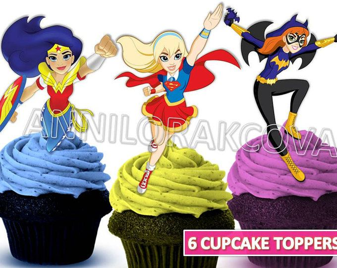DC Superhero Girls Cupcake Toppers Printables Cake Instant Download You Print 60 OFF Sale