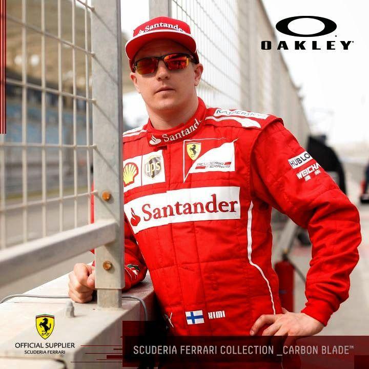 7d1e706bed Kimi Raikkonen wearing Special Edition Oakley Scuderia Ferrari Carbon Blade  Sunglasses