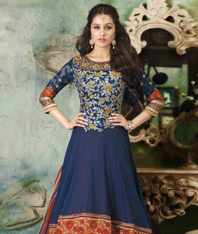 Bring out your ethnic  side with grace and elegance! Crafted with the latest designs and amazing color combinations, this collection will make you fall for it. It is stylish, traditional and designed to take your heart away.BRAND: AnmolCATEGORY: Unstitched Suit with DupattaARTICLECOLOURMATERIALLENGTHTopBlue and RedFaux Georgette3.00 metersBottomBlueShantoon2.50 metersDupattaOrangeChiffon2.50 metersWe would always want to send you what we showcase but there might be a slight variation in ...