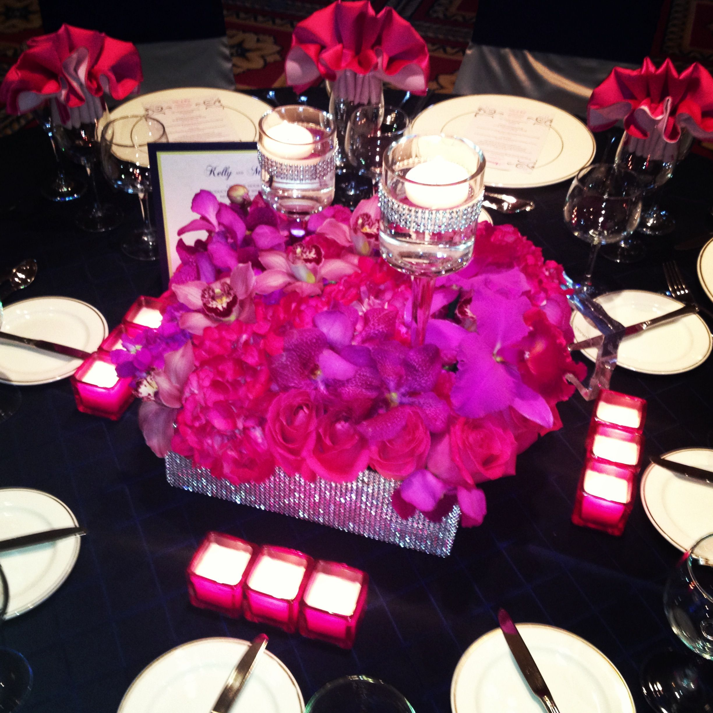 Wedding Flowers And Decorations Hot Pink Roses Dendrobium Orchids