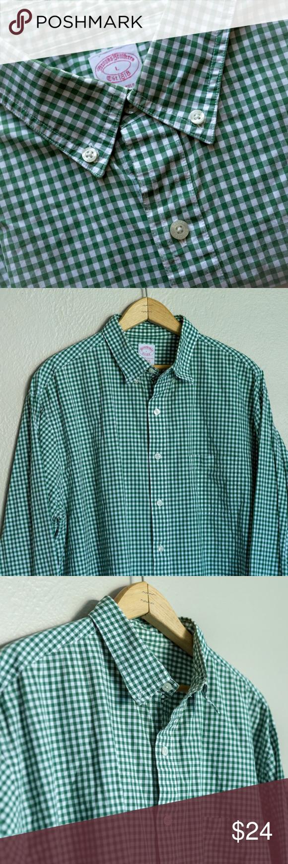 Dark green dress shirt  Brooks Brothers green gingham sports shirt  L