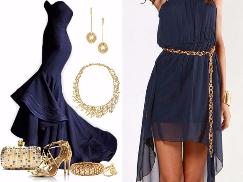Gold - What Color Jewelry Goes with Navy Blue Dresses  - EverAfterGuide 2cd06509c