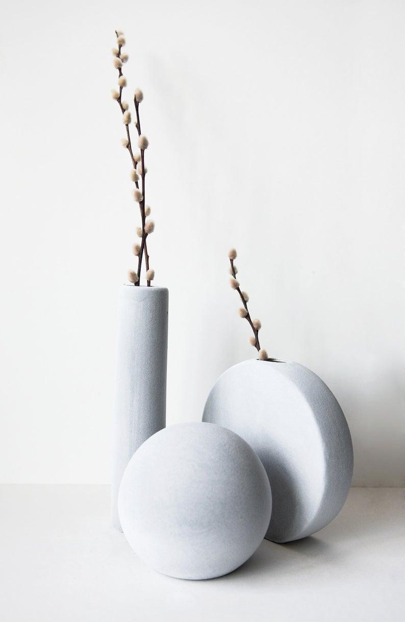 Tall Geometric Vase Ceramic Set Of Home Decor Objects Bud Vase