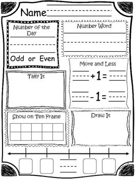 Daily Math and Number of the Day Recording Sheet by Sailing ...