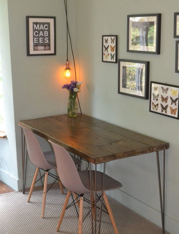 Industrial Kitchen Table And X 2 Chairs Mid Century Style Hairpin Industrial Dining Table Table Rustic Industrial Table