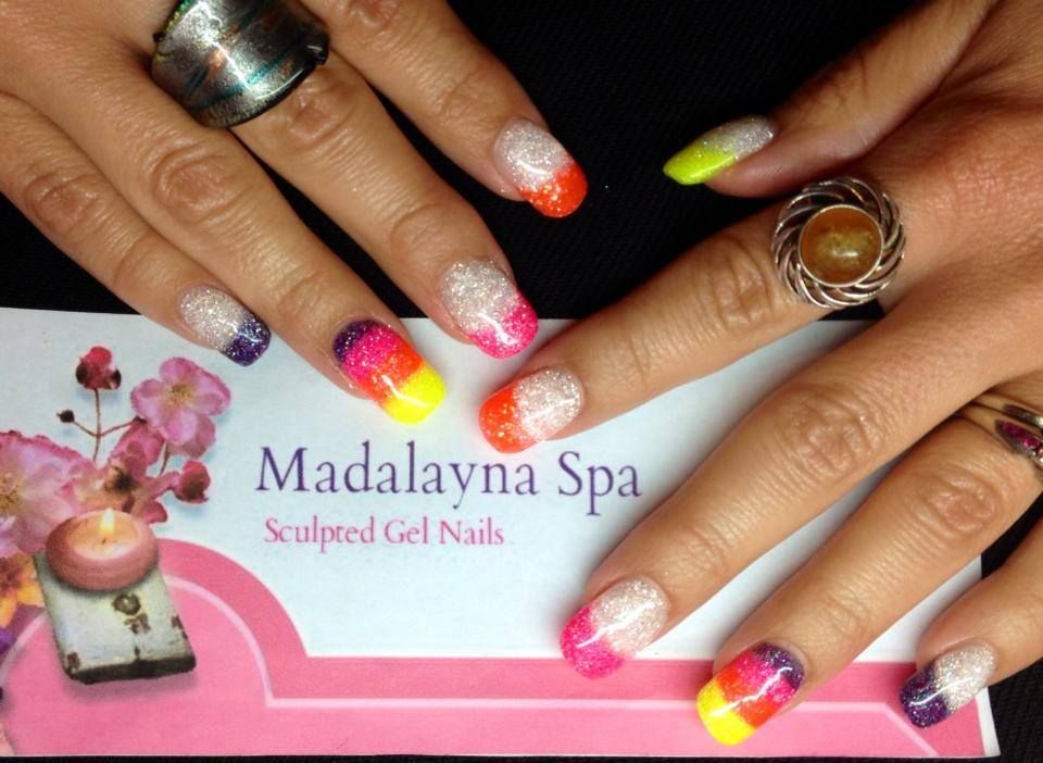 Bright and summery gel nails sculpted with Fuzion UV Sparklez in ...