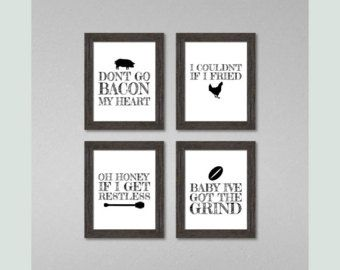 funny kitchen signs dont go bacon my heart set kitchen puns kitchen pun print set kitchen decor set of 4 - Funny Kitchen Signs
