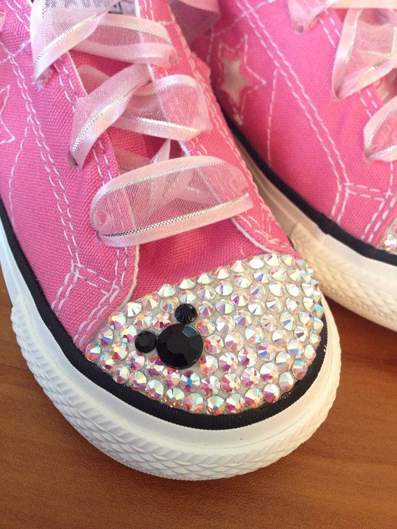 4caa694a4bd3 Low Top Bling Converse Minnie Mouse by Munchkenzz on Etsy